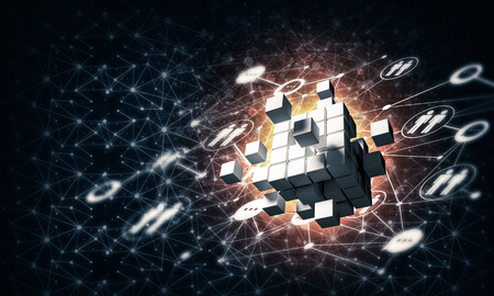 Conceptual background image with cube figure and social connection lines. 3d rendering Banco de Imagens - 83218916
