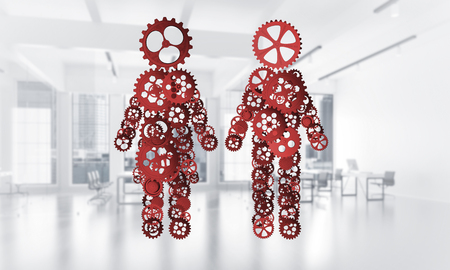Figures of man and woman made of gears and cogwheels on white background. 3d rendering Zdjęcie Seryjne - 83219778