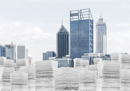 Horizontal shot of piles of documents with cityscape on background. Mixed media.