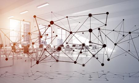 Linien verbunden mit Punkten als soziales Kommunikationskonzept im Büroinnenraum . 3D-Rendering Standard-Bild - 83339704
