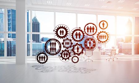 Cogwheels and gears mechanism as social communication concept in office interior. 3D rendering Banco de Imagens - 83340637