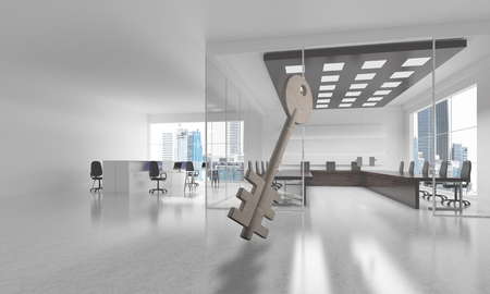 Key stone figure as symbol of access in elegant office room. 3d rendering