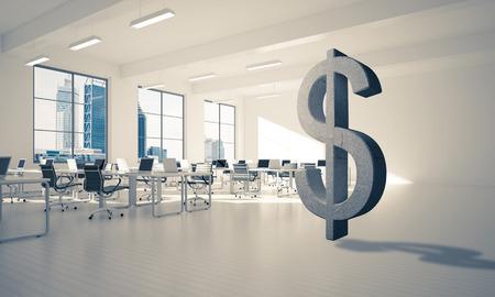 通貨記号として近代的なオフィス インテリアに石ドル記号。3 d レンダリング