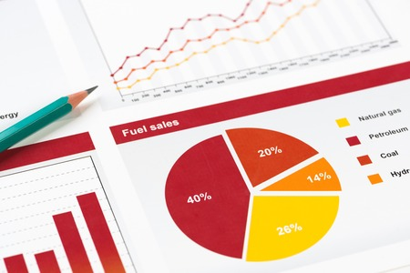 Charts and graphs of sales as symbol of successful corporate business