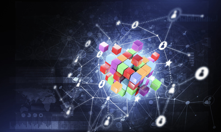 Conceptual background image with cube figure and social connection lines. 3d rendering Banco de Imagens - 83887744
