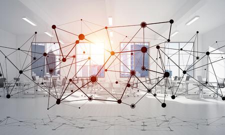 Linien verbunden mit Punkten als soziales Kommunikationskonzept im Büroinnenraum . 3D-Rendering Standard-Bild - 83624390
