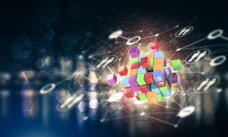 Conceptual background image with cube figure and social connection lines. Mixed media Banco de Imagens - 83663077