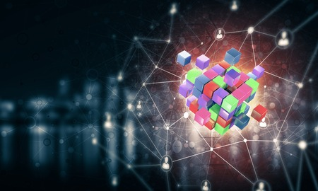 Conceptual background image with cube figure and social connection lines. Mixed media Banco de Imagens - 83752105