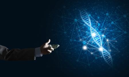 概念としての DNA 分子研究発表のビジネスマン手を閉じます。ミクスト メディア 写真素材