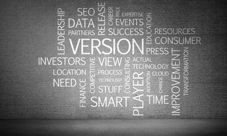 현대 비즈니스 키워드 및 배경에 어두운 회색 벽에 콜라주. 3D 렌더링입니다. 스톡 콘텐츠
