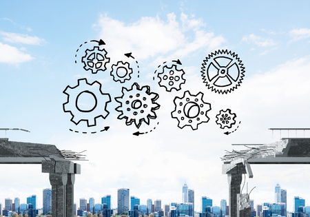 Sketched gear mechanism over gap in concrete bridge as symbol of teamwork and problem solving. Cityscape on background. 3D rendering. Stock Photo