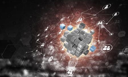 큐브 그림 및 사회적 연결 라인 개념적 배경 이미지. 3 차원 렌더링 스톡 콘텐츠
