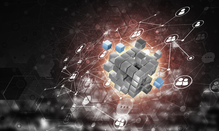 Conceptual background image with cube figure and social connection lines. 3d rendering Banco de Imagens - 83981404