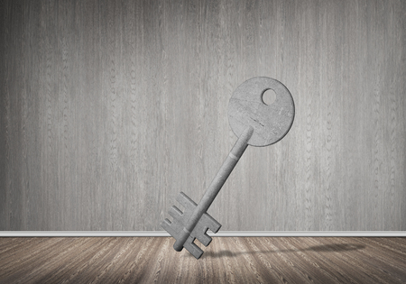 Key stone figure as symbol of access in empty concrete room Stock Photo - 83981556