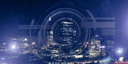Background conceptual image with virtual interface against night glowing city Stok Fotoğraf