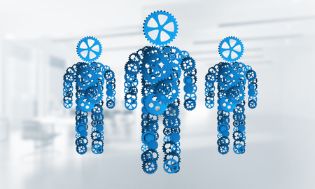 Figures of persons made of gears and cogwheels on white office background. 3d rendering