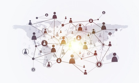 Background image with social connection and networking concept on white wall Banco de Imagens