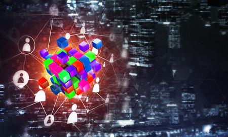 キューブ図とソーシャル コネクション ライン概念の背景イメージです。ミクスト メディア