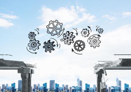 Schetched gear mechanisme over de kloof in betonnen brug als symbool van teamwork en probleemoplossing. Cityscape op achtergrond. 3D-weergave.
