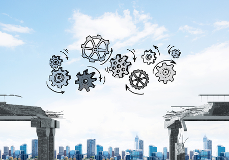 Sketched gear mechanism over gap in concrete bridge as symbol of teamwork and problem solving. Cityscape on background. 3D rendering. Фото со стока