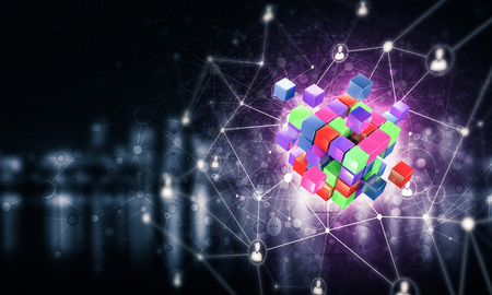 Conceptual background image with cube figure and social connection lines. Mixed media Banco de Imagens - 84322161