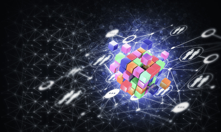 Conceptual background image with cube figure and social connection lines. 3d rendering Banco de Imagens - 84401222
