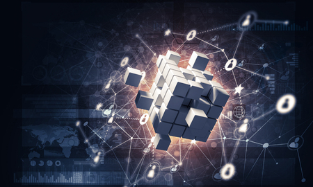 Conceptual background image with cube figure and social connection lines. 3d rendering Banco de Imagens - 84401335
