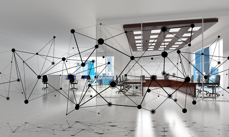 Lines connected with dots as social communication concept in office interior. 3D rendering Reklamní fotografie - 84403303