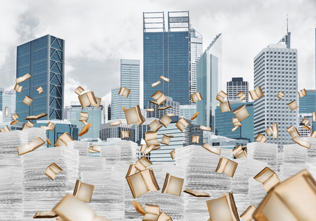 Horizontal shot of flying books and piles of documents with cityscape on background. Mixed media.