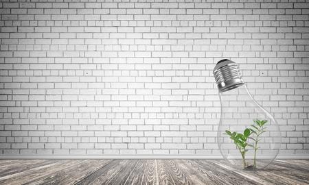 Glas lightbulb met groene installatie binnen in lege ruimte met grijze bakstenen muur op achtergrond. 3D-rendering. Stockfoto