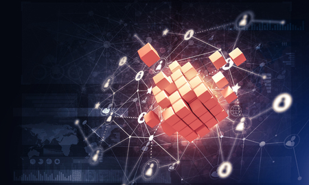 Conceptual background image with cube figure and social connection lines. 3d rendering Banco de Imagens - 84556857