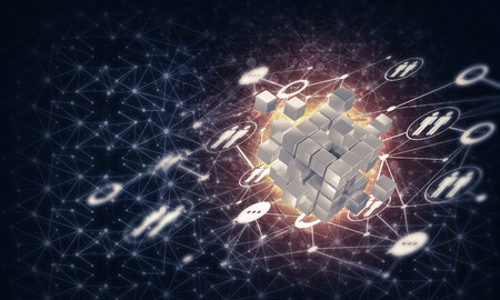 Conceptual background image with cube figure and social connection lines. 3d rendering Banco de Imagens - 84554202