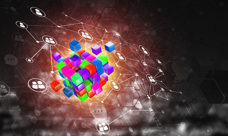 Conceptual background image with cube figure and social connection lines. 3d rendering Banco de Imagens - 84558330