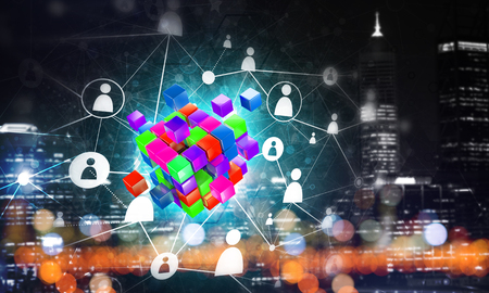 Conceptual background image with cube figure and social connection lines. Mixed media Banco de Imagens - 84615140