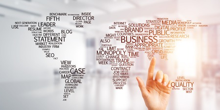 Close of businesswoman hand touching global business concept on screen Stock fotó