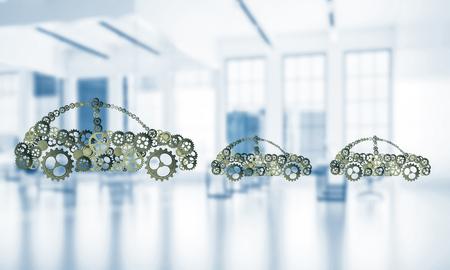 Auto pictogram gemaakt van versnellingen en tandwielen op witte kantoor achtergrond. 3D-rendering Stockfoto