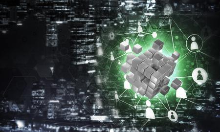 큐브 그림 및 사회적 연결 라인 개념적 배경 이미지. 혼합 매체 스톡 콘텐츠
