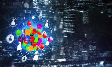 Conceptual background image with cube figure and social connection lines. Mixed media Banco de Imagens - 84646110