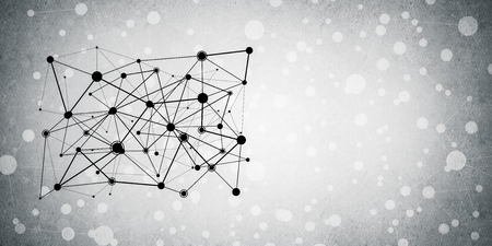 Background image with social connection and networking concept on concrete wall Banco de Imagens