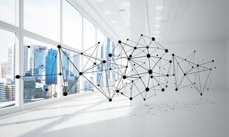 Linien, die mit Punkten als soziales Kommunikationskonzept im Büroinnenraum verbunden sind. 3D-Rendering Standard-Bild - 84795878