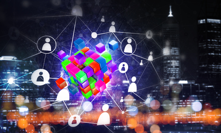 Conceptual background image with cube figure and social connection lines. Mixed media Banco de Imagens - 85485034