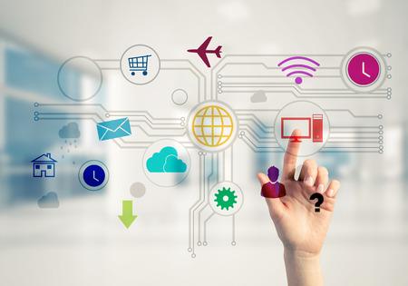 ビジネスウーマンの手画面上の色付きのメディアユーザーパネルをタッチ 写真素材