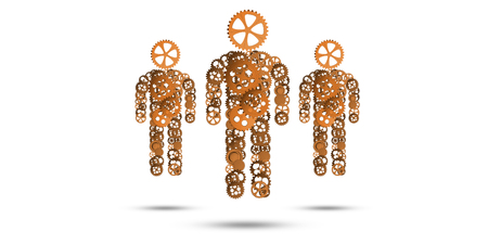 Figures of persons made of gears and cogwheels on white background