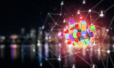 キューブ図とソーシャル接続線を使用した概念背景イメージ。混合メディア 写真素材