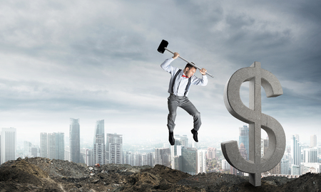 Jumping businessman crashing big dollar symbol with city view on background. 3D rendering.