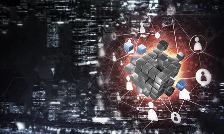 Conceptual background image with cube figure and social connection lines. Mixed media Banco de Imagens - 85756291