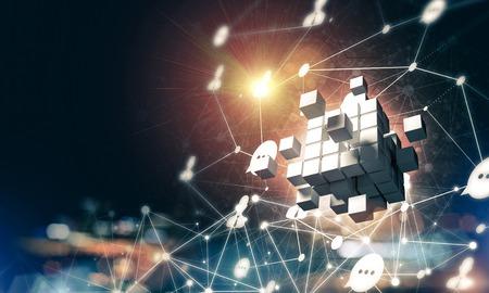 キューブ図とソーシャル接続線を使用した概念背景イメージ。3d レンダリング 写真素材