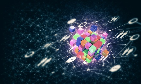 Conceptual background image with cube figure and social connection lines. 3d rendering Banco de Imagens - 85756336
