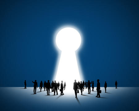 Large group of business people and big keyhole