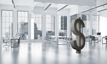 Stone dollar symbol in modern office interior as currency sign. 3d rendering Фото со стока - 86733782